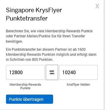 Punktetransfer American Express Membership Rewards zu Singapore Airlines KrisFlyer