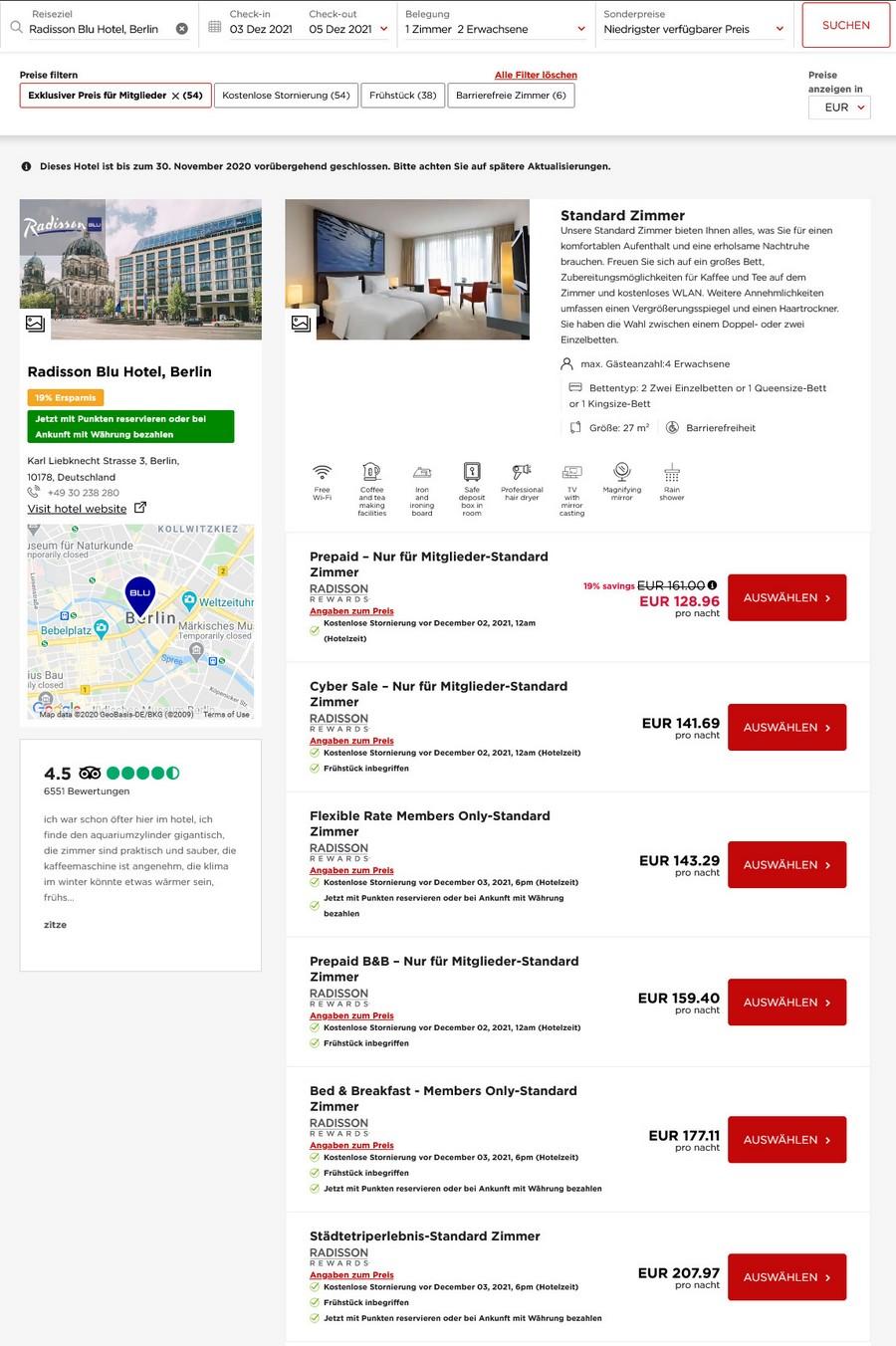 Preisbeispiel Radisson Blu Berlin - Vergleich aller Zimmer