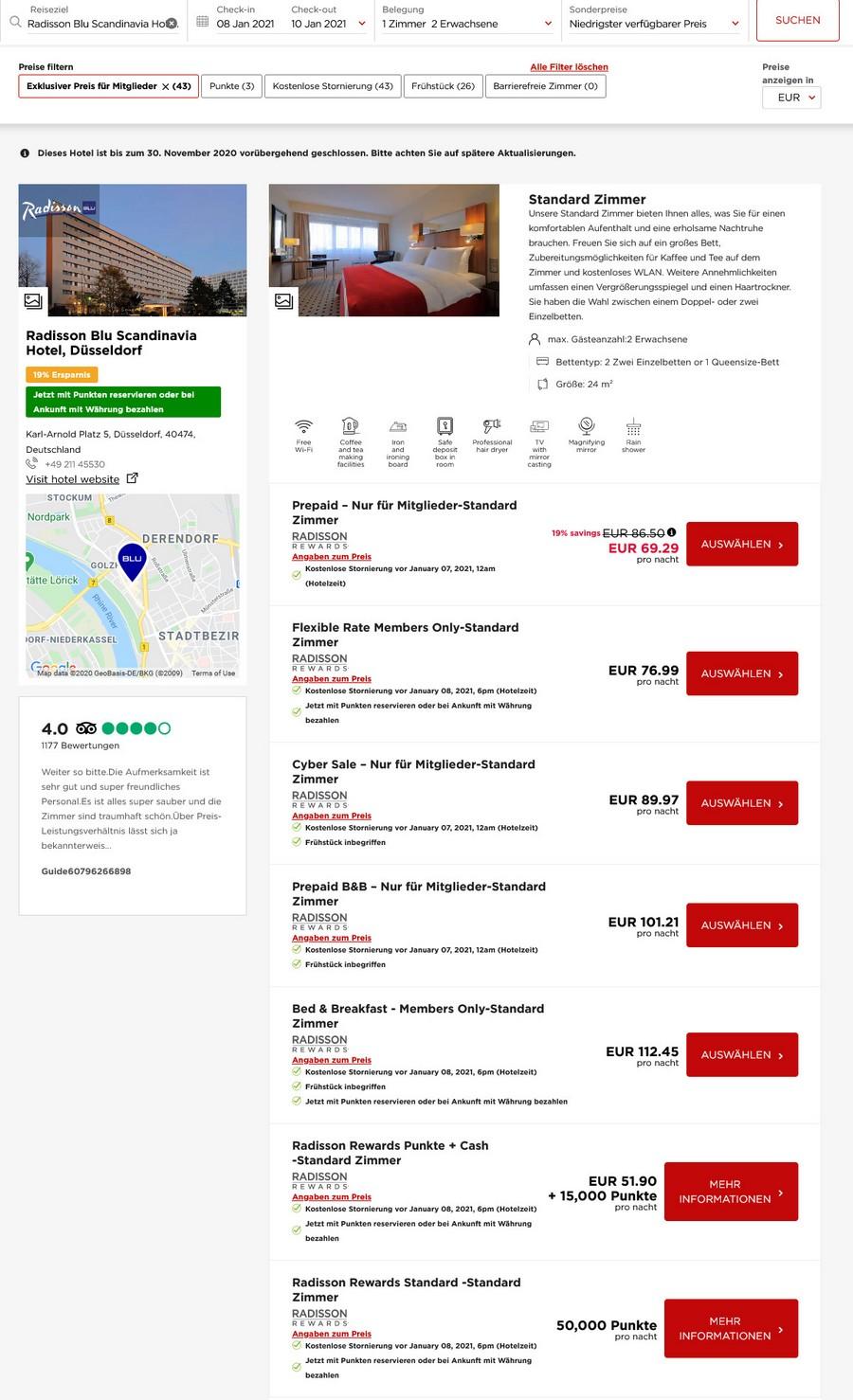 Preisbeispiel Radisson Blu Scandinavia Düsseldorf - Vergleich aller Zimmer