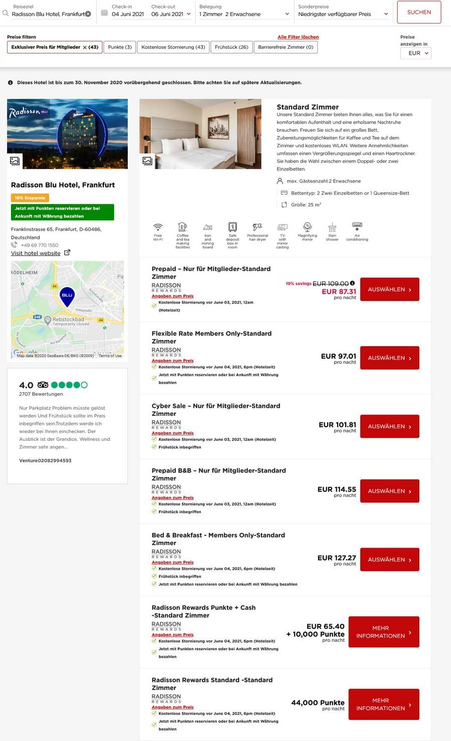 Preisbeispiel Radisson Blu Frankfurt - Vergleich aller Zimmer