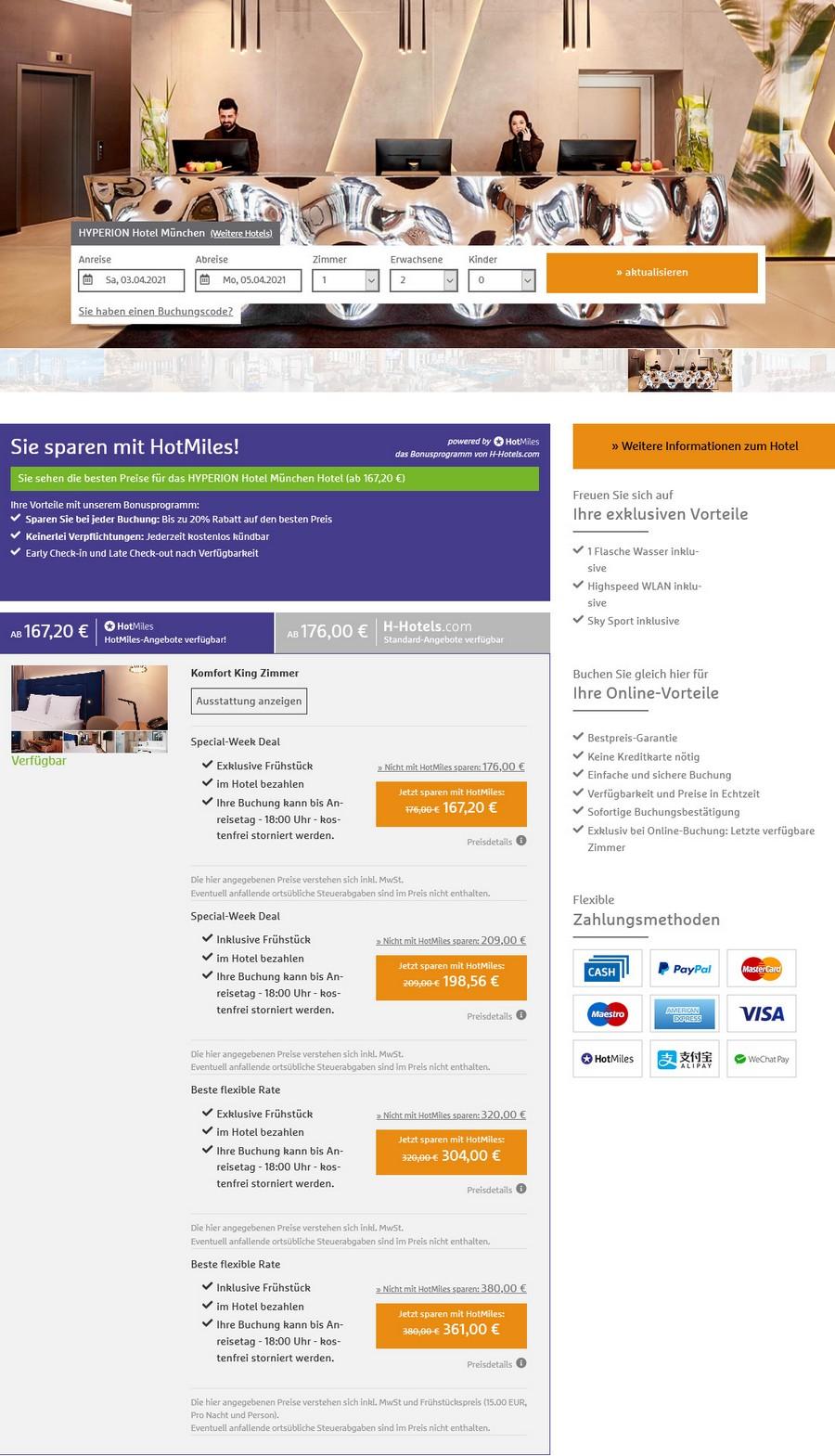 Preisbeispiel H-Hotels Special Week 2020 im Hyperion Hotel München