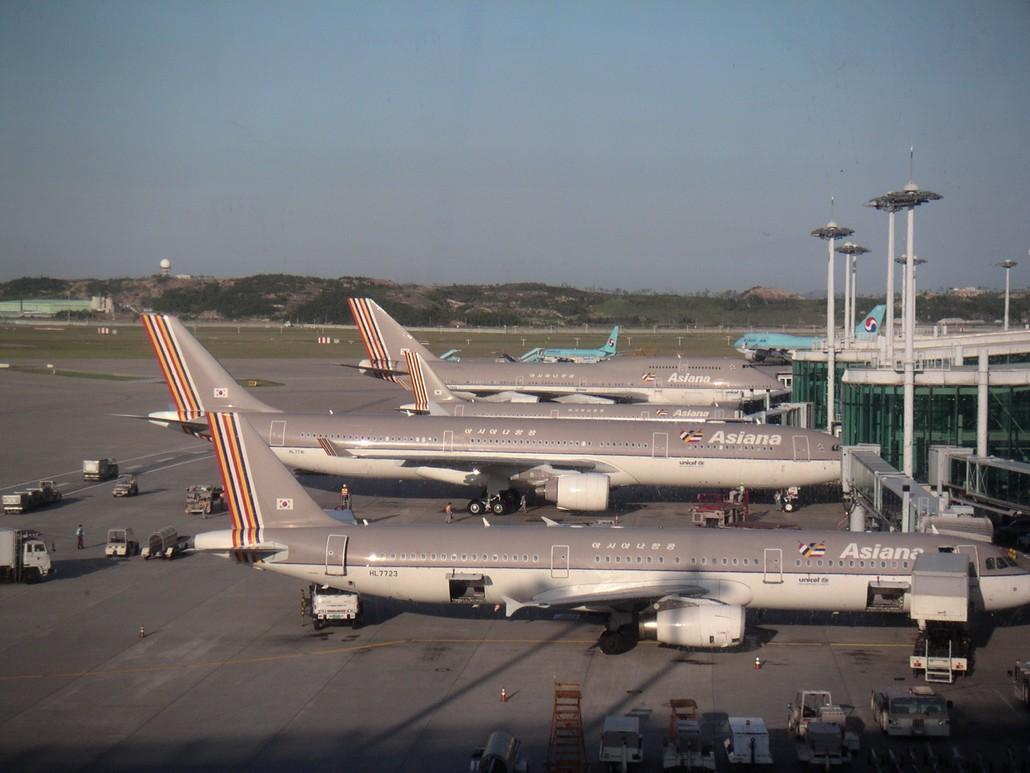 Asiana Airlines und KoreanAir Flugzeuge in Seoul Incheon