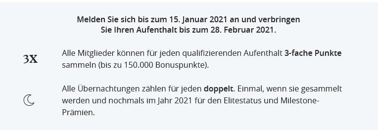 Verlämngerung der Promotion - dreifache World of Hyatt Punkte nun bis 28.02.2021