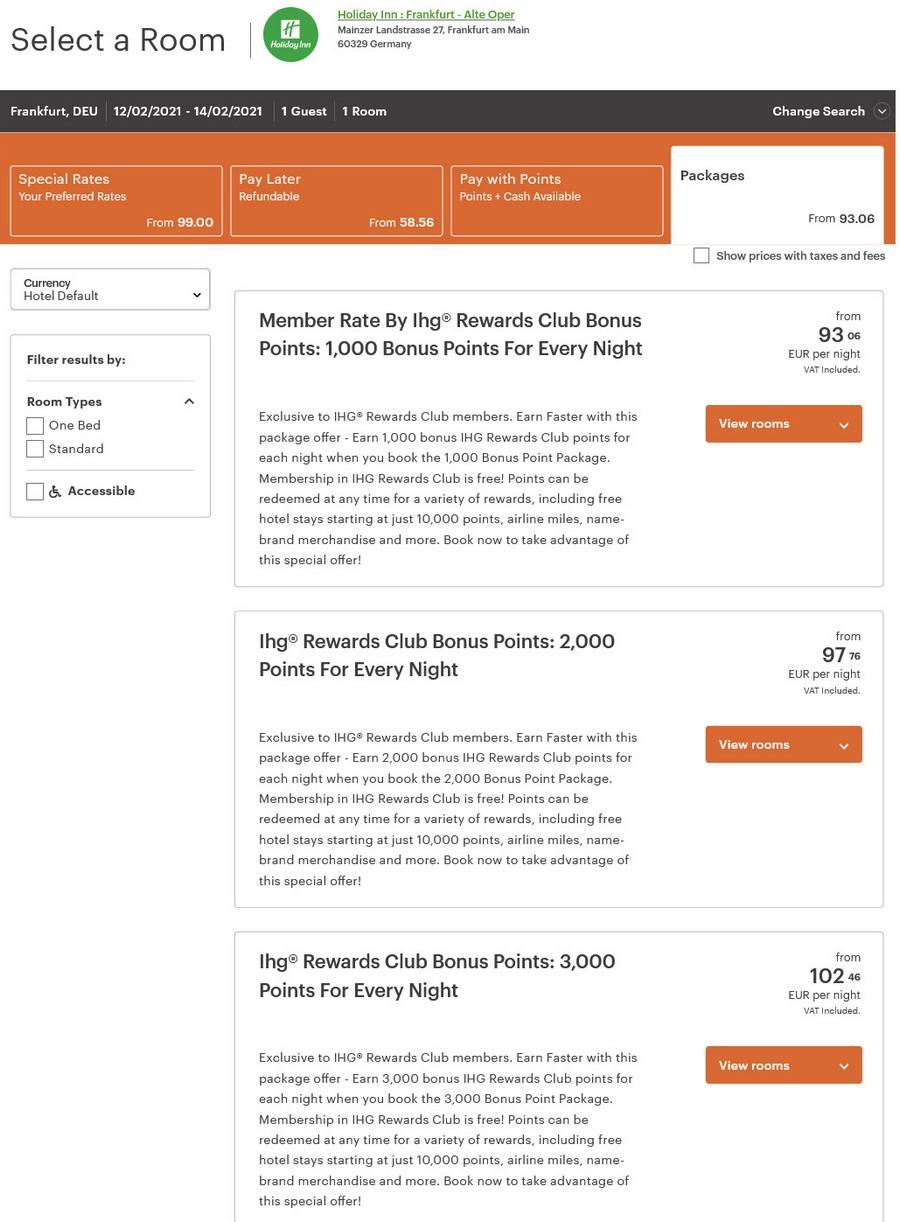 Preisbeispiel der verfüv´gbaren Raten im Holiday Inn Frankfurt Alte Oper (Firefox Browser)