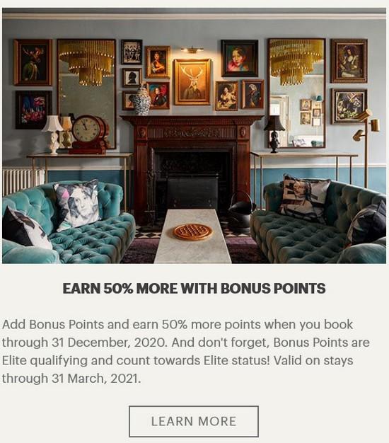 50% Bonus auf IHG Bonuspunkteraten für Aufenthalte bis 31.03.2021