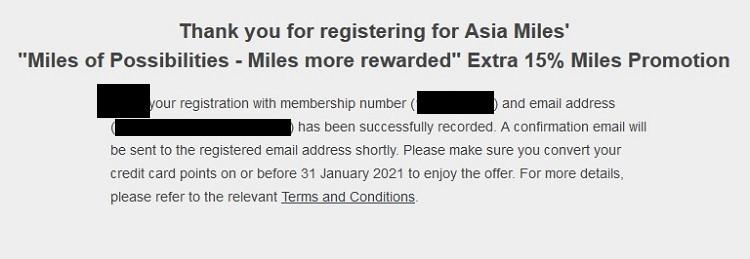 bestätigung des Bonus von 15% Bonus beim Transfer von American Express Membership Rewards zu Cathay Pacific Asia Miles bis 31.01.2021