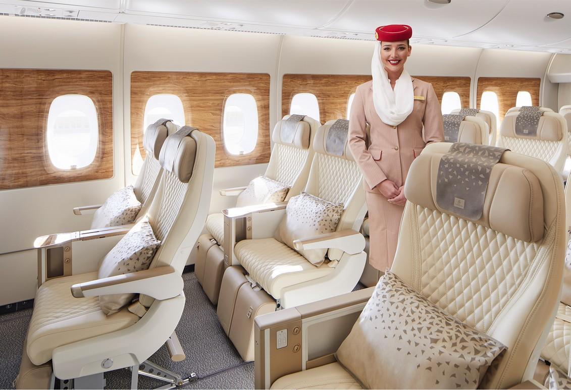 Premium-Economy-Class von Emirates Airlines im Airbus 380