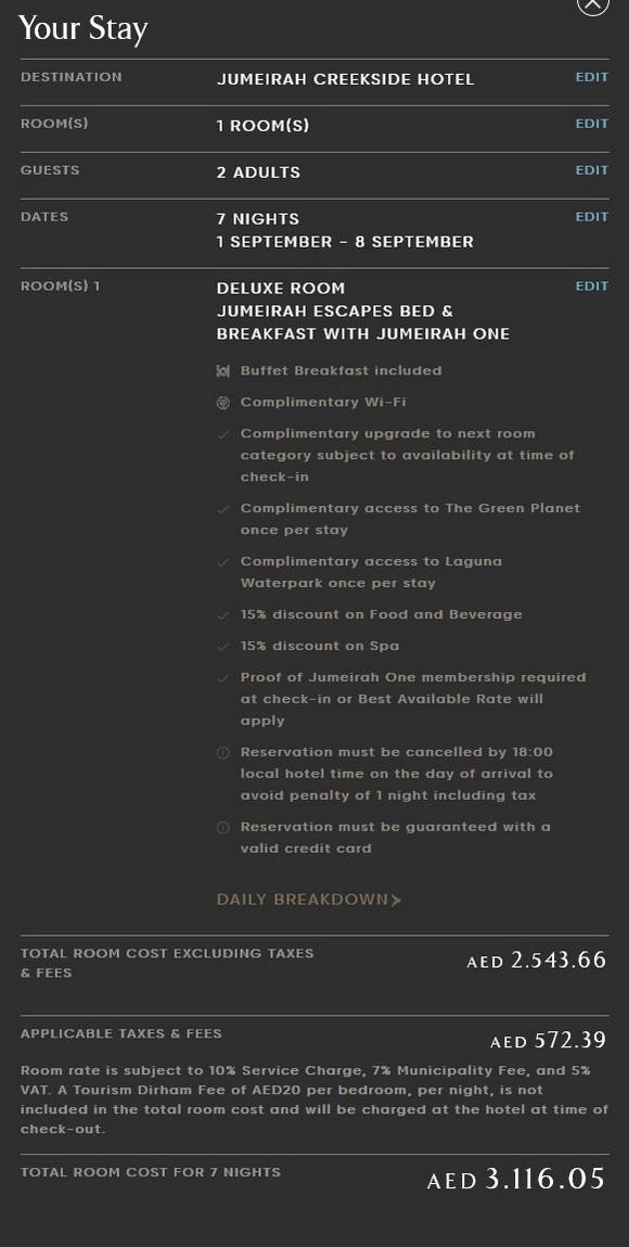 Preisübersicht der Escape Raten für Buchung bis 31.01.2021 im Jumeirah Creekside Hotel Dubai