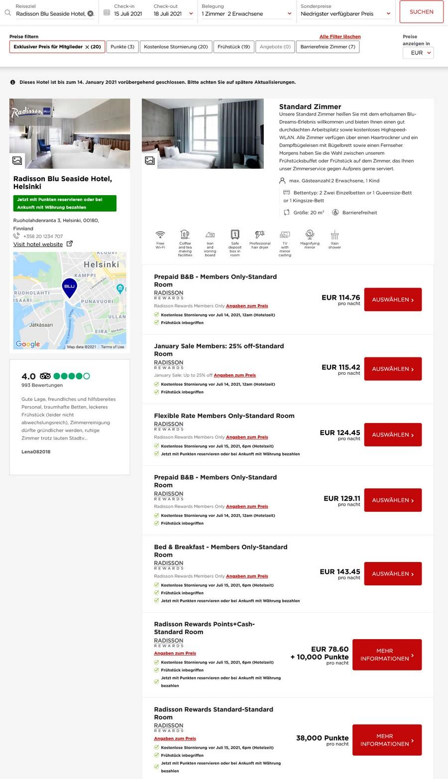 Preisbeispiel Radisson Seaside Helsinki - Vergleich aller Raten