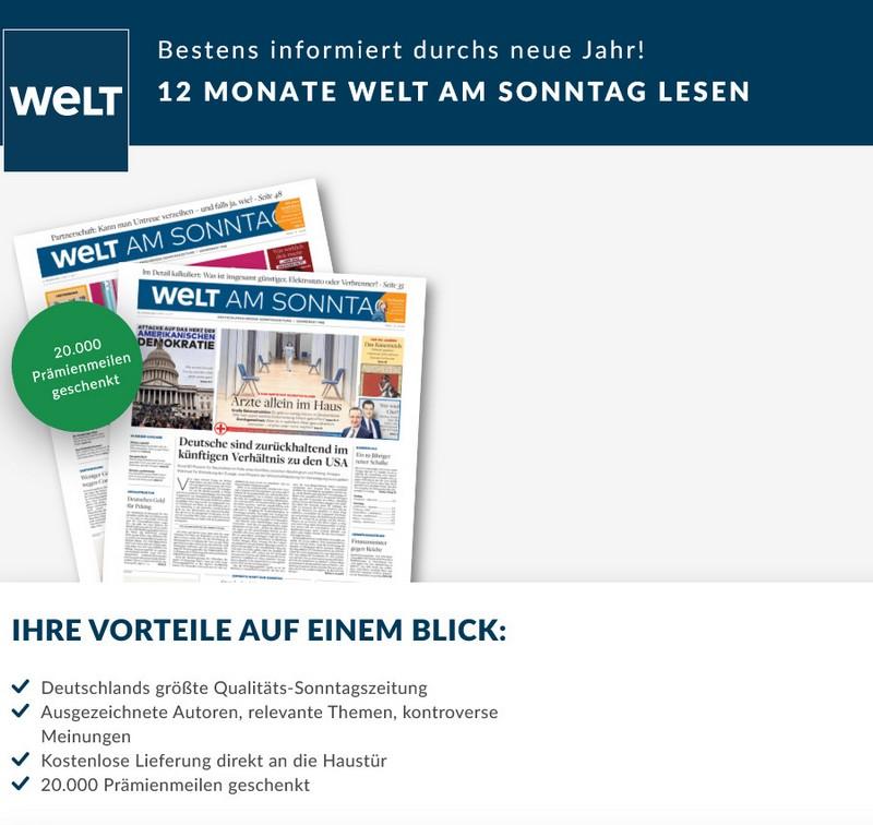 """Abo der """"Welt am Sonntag"""" im Januar 2021 mit 20.000 Miles and More Meilen"""