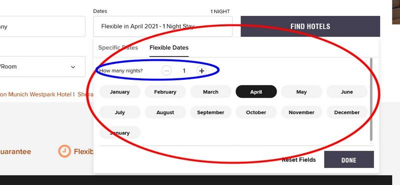Suche auf Marriott mit flexiblen Daten