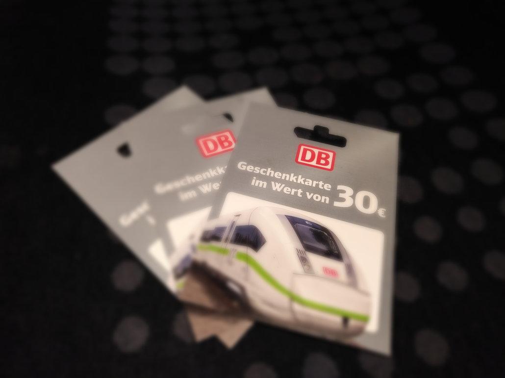Deutsche Bahn Geschenkkarten im Wert von 30 EUR