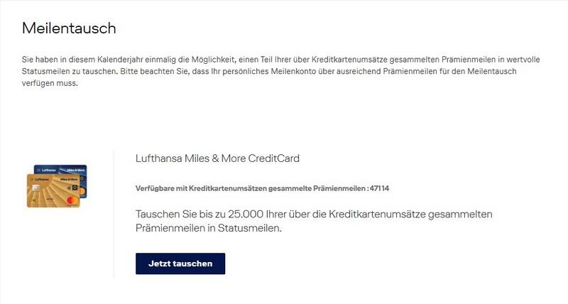 Informationen zum Tausch von Meilen in Status Meilen mit der Miles and More Kreditkarte