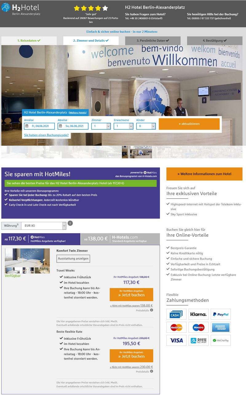 Preisbeispiel H-Hotels Travel Weeks 2021 im H2 Hotel Berlin Alexanderplatz