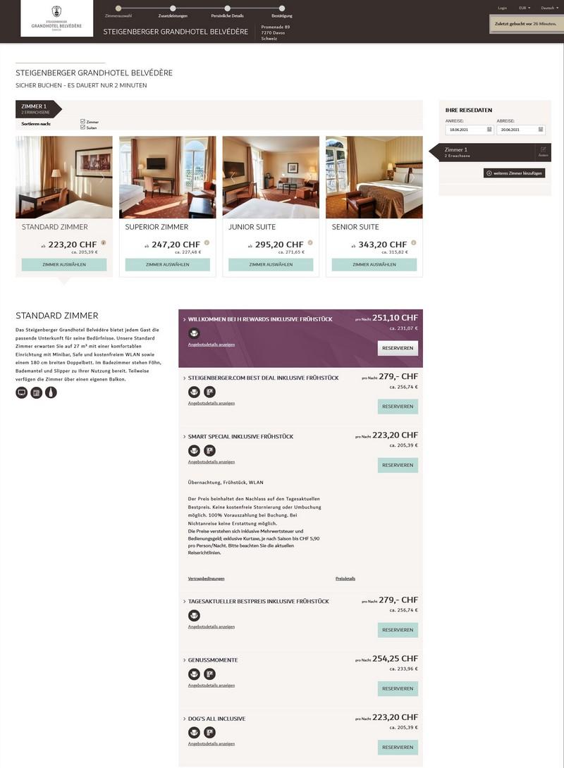 Preisbeispiel Genussmomente im Steigenberger Grandhotel Belvédère Davos