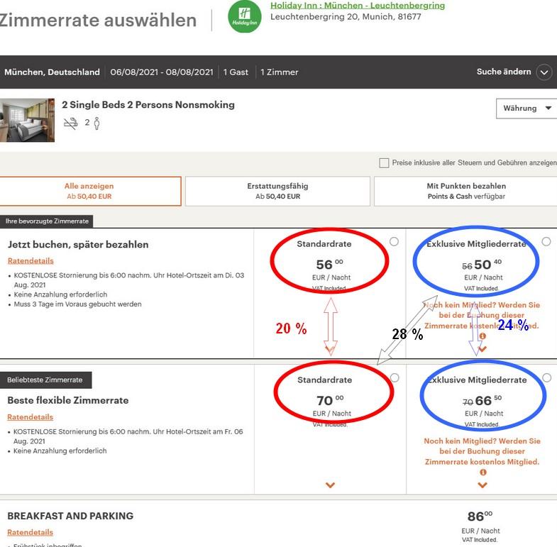 Bis 05.09.2021 zwischen 20% und 30% sparen, hier das Holiday Inn Leuchtenbergring