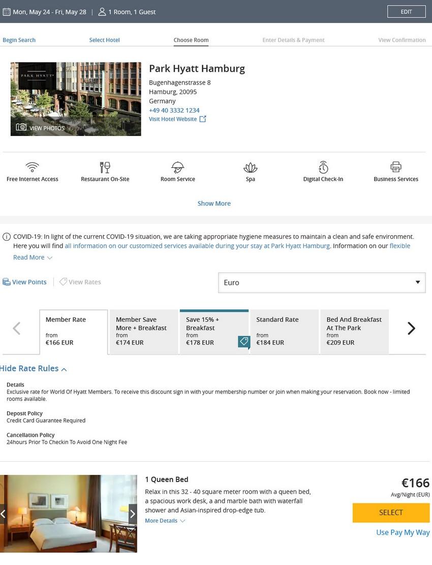 Preisbeispiel des Hyatt Angebot für Buchungen bis 02.04.2021 im Park Hyatt Hamburg