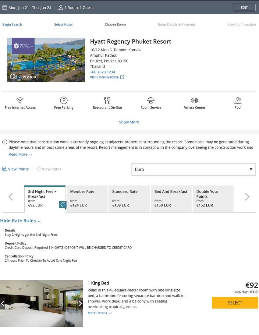 Preisbeispiel im Hyatt Regency Phukte für Freinächte statt Ersparnis für Buchung bis 02.04.2021