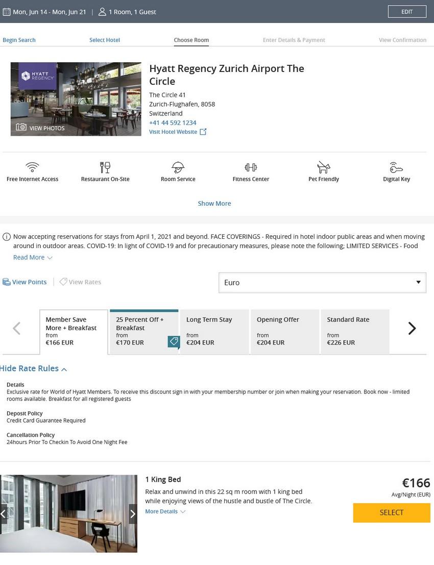 Preisbeispiel des Hyatt Angebotes für Buchungen bis 02.04.2021 im Hyatt Regency Zürich