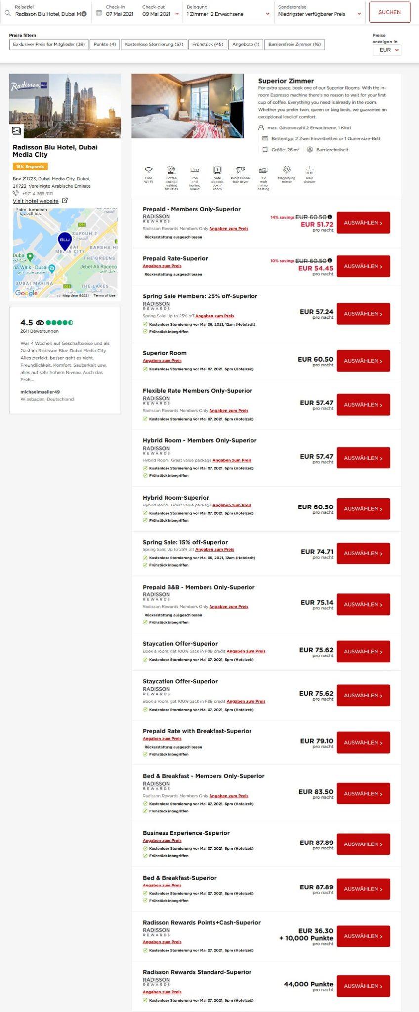 Preisbeispiel Radisson Blu Dubai - Vergleich aller Raten