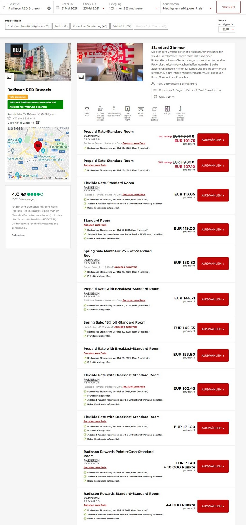 Preisbeispiel Radisson Red Brüssel - Vergleich aller Raten