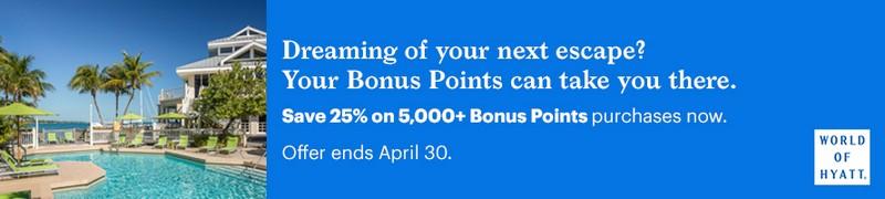 25% Ersparnis beim Kauf von World of Hyatt Punkten bis 30.04.2021