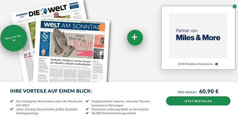 """bis 31.05.2021 60.000 Miles and More Meilen für ein Kombi Abot der Zeitung """"Die Welt"""" und """"Welt am Sonntag"""""""