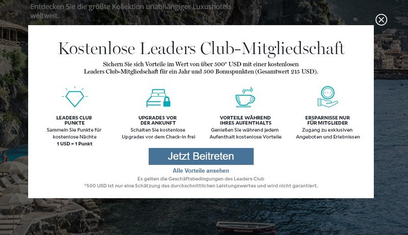 Leading Hotels Mitgliedschaft im ersten Jahr ohne Kosten