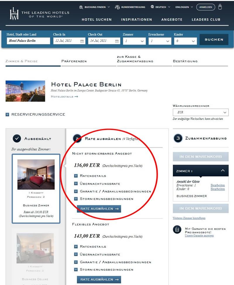 Reguläre Rate im Hotel Palace Berlin
