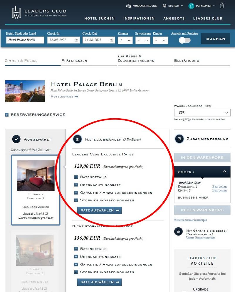 Leaders Club Rate im Hotel Palace Berlin