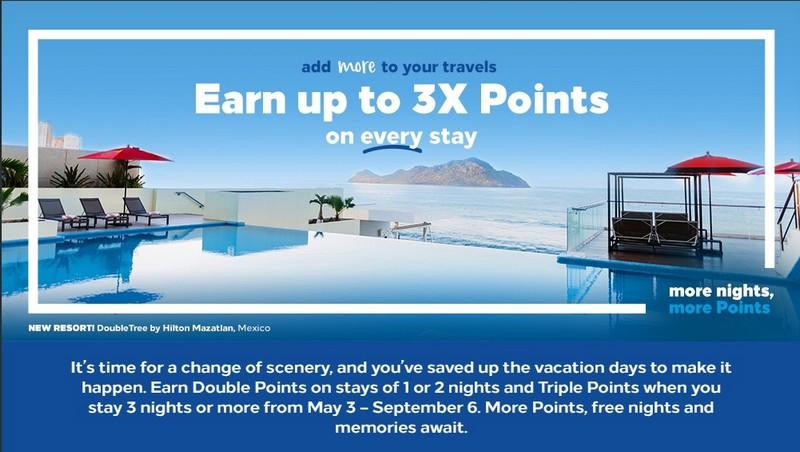 Promotion mit bis zu dreifache Hilton Honors Punkte bis 06.09.2021