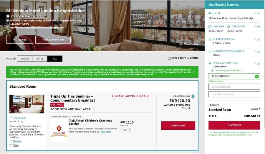 Preise des Millennium Angebotes für Aufenthalte bis Ende März 2022 im Millennium Hotel London Knightsbridge
