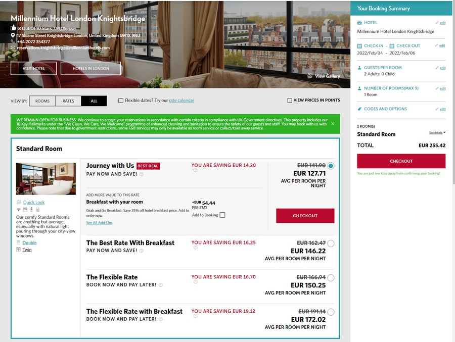Reguläre Preise im Millennium Hotel London Knightsbridge