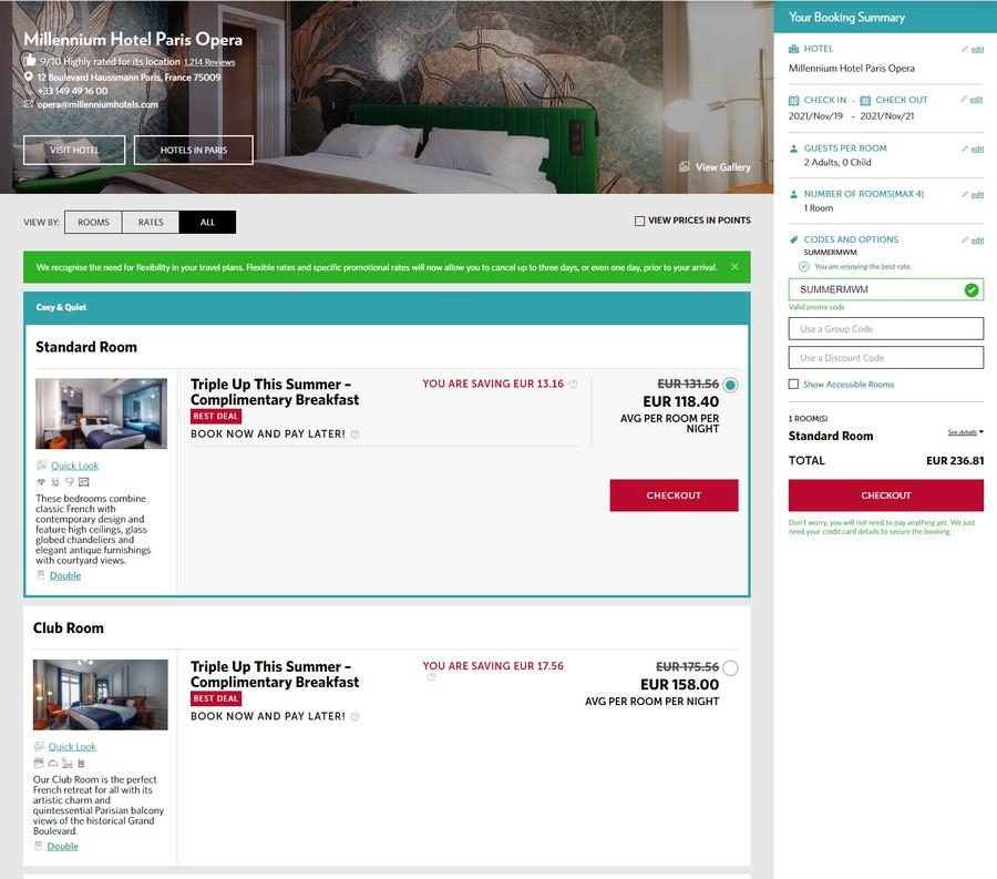 20210429_mi_parop_01Preise des Millennium Angebotes für Aufenthalte bis Ende März 2022 im Millennium Hotel Paris Opera