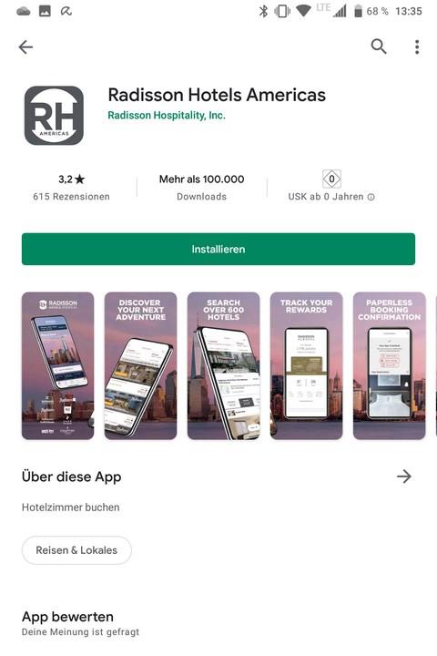 Eine der Änderungen im Radisson Rewards Programm ab Juni 2021 sind unterschiedliche Apps - hiier die für Amerika