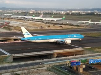 KLM Boeing 777-300 in Taipei Taoyuan International Airport