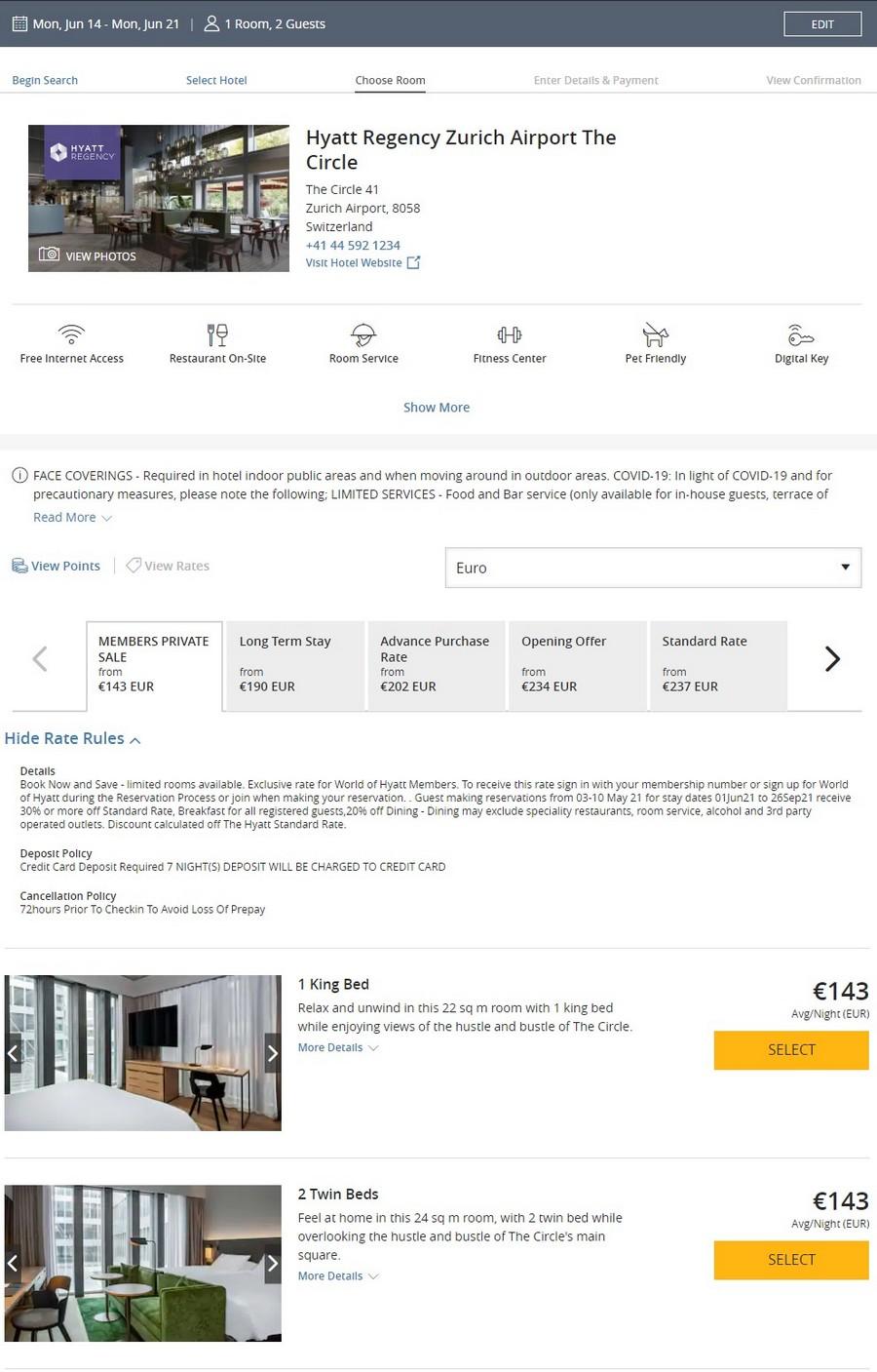Preisbeispiel des Hyatt Angebotes für Buchungen bis 10.05.2021 im Hyatt Regency Zürich
