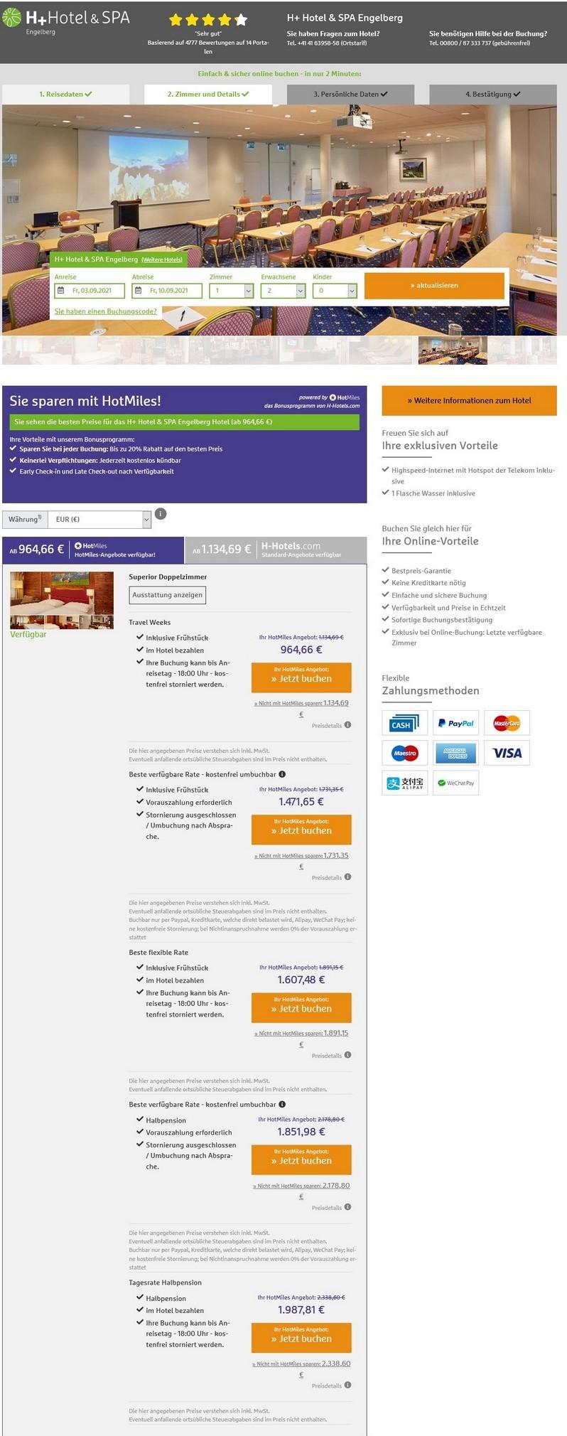 Preisbeispiel H-Hotels Travel Weeks im H+ Hotel & Spa Engelberg