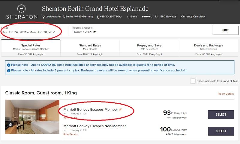 Verfügbarkeit der Marriott Bonvoy Escapes vom 09.06.2021 für ein verlängertes Wochenende