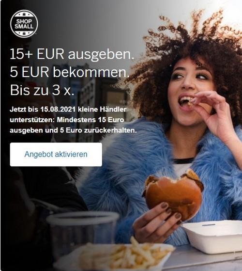 Gutschrift von bis zu 15 EUR für Einkäufe bei Shop Small Partnern bis 15.08.2021