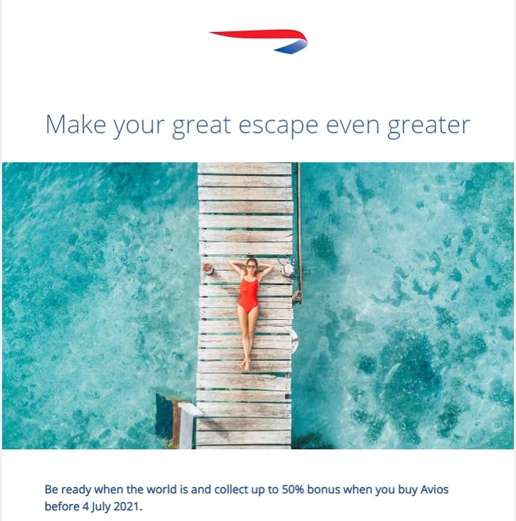 Bonus von bis zu 50% beim Kauf von Avios im British Airways Executive Club bis 04.07.2021