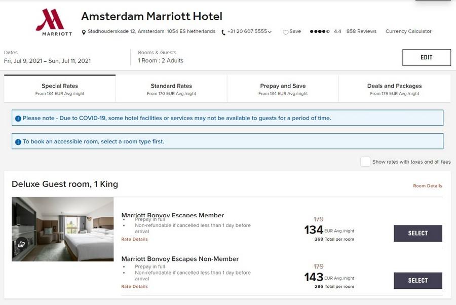 Vergleich Marriott Bonvoy Escapes Raten im Marriott Amsterdam für zwei Personen
