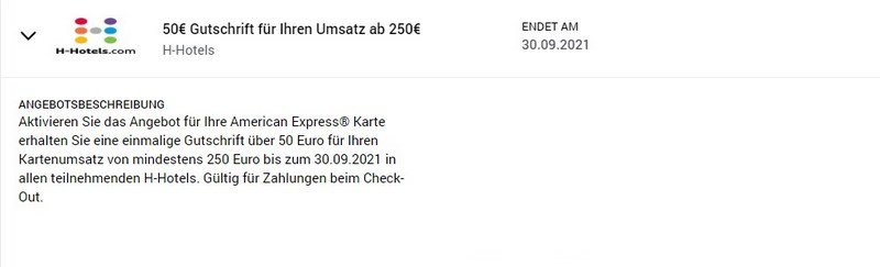 50 EUR American Express Gutschrift bei H-Hotels bis 30.09.2021