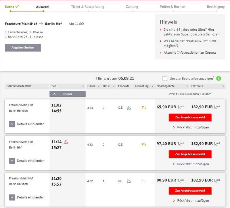 Preise für Bahnfahrt Frankfurt - Berlin 1. Klasse mit BC 25