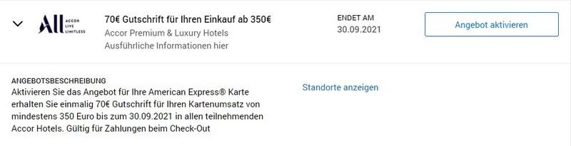 70 EUR American Express Gutschrift bei Accor bis 30.09.2021