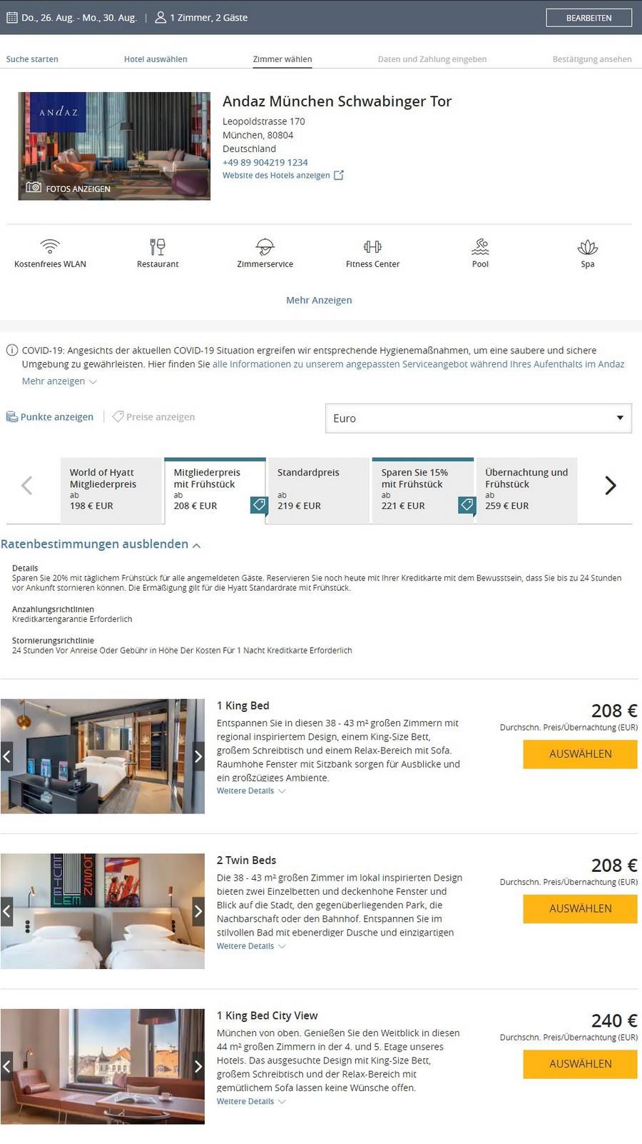 Preisbeispiel des Hyatt Angebot für Aufenthalte bis 30.09.2021 im Andaz Müchen