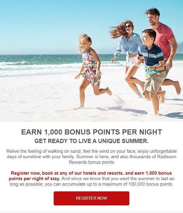 Bis 30.09.2021 1.000 Radisson Rewards Bonus Punkte pro Nacht