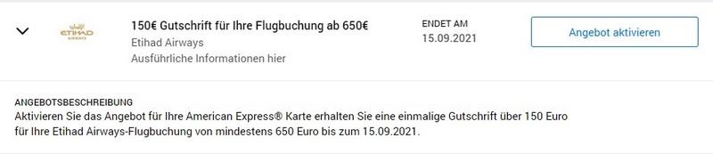 American Express Gutschrift von 150 EUR für Flüge mit Etihad Airways bis 15.09.2021