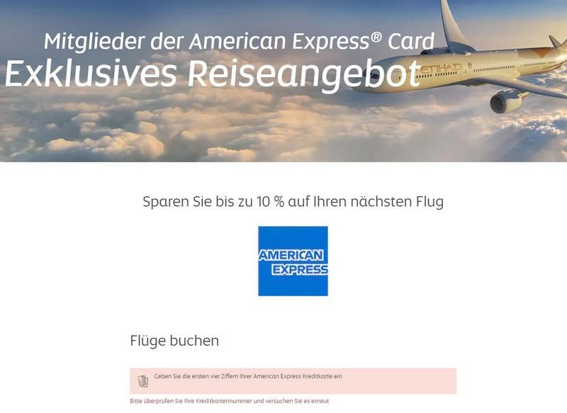 American Express und Etihad Airways Aktion - bis Mitte September 2021 spart Ihr noch mehr