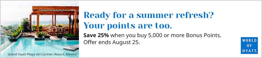 25% Ersparnis beim Kauf von World of Hyatt Punkten bis 25.08.2021